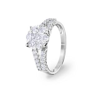 Bague de fiançailles 750/18 K or gris avec diamants 1.00 ct H/si by CHRISTIAN
