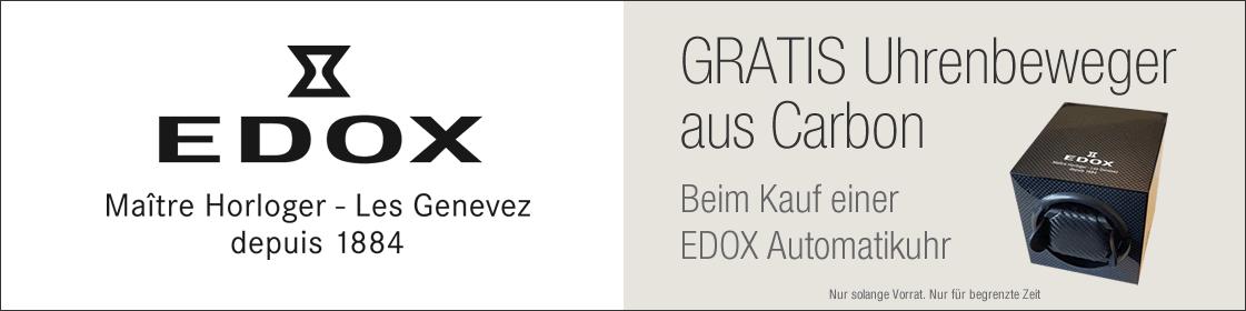 Nur für kurze Zeit: Beim Kauf einer Edox Automatikuhr erhalten Sie einen Uhrenbeweger im Wert von CHF 250.- geschenkt. Nur solange Vorrat.
